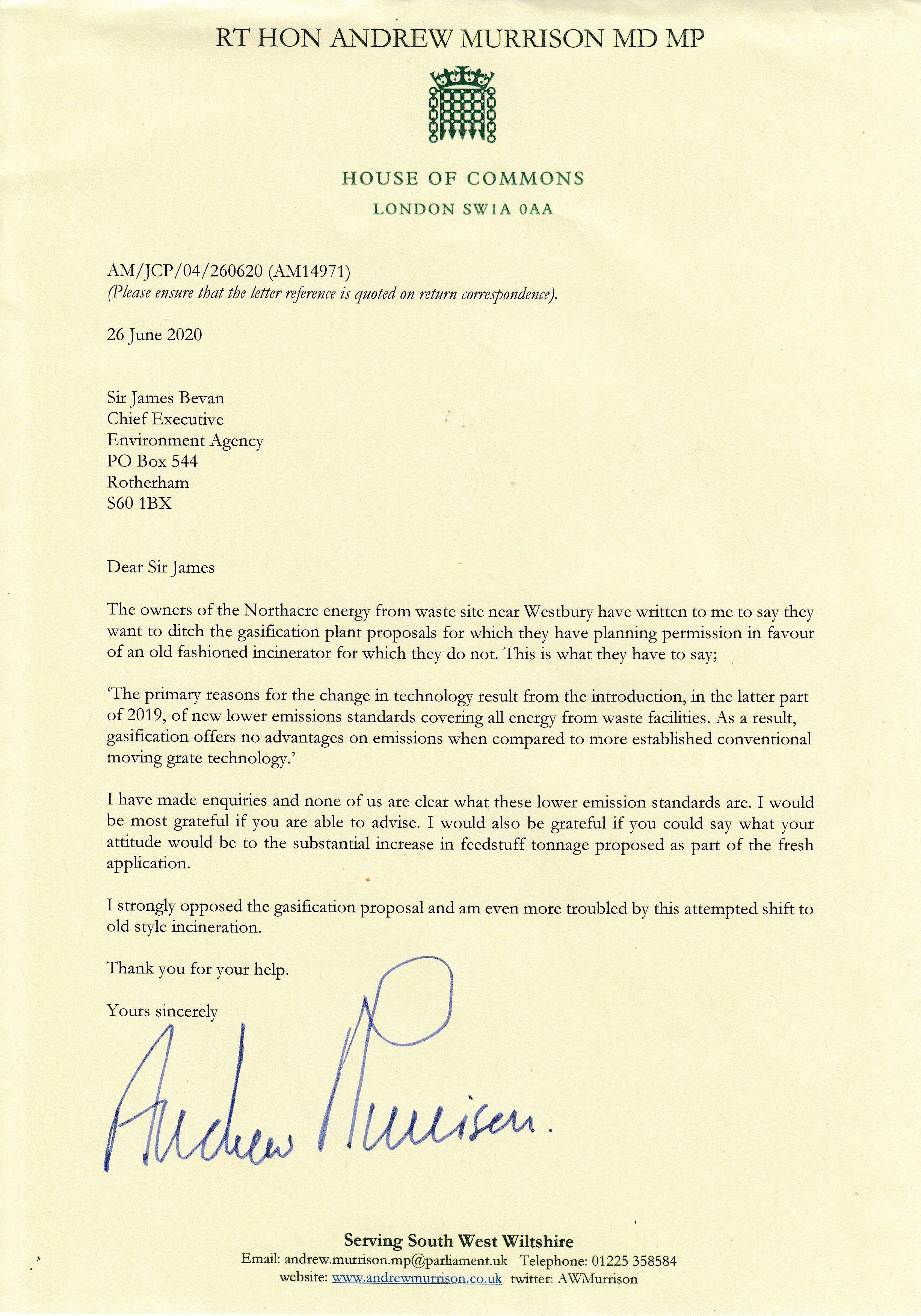 Letter to CE, Environment Agency